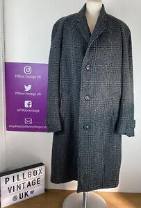 Vintage 1960s Men's Crombie Coat Grey Wool Blend Single Breasted Size L