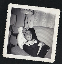 Vintage Antique Photograph Young Man Laying on Couch/Sofa Laughing