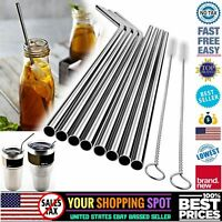 "10.5"" Stainless Steel Metal Drinking Straw Reusable Straws w/ Cleaner Brush Kit"