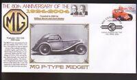MG CARS 80th ANNIVERSARY COVER, 1934 MG P-TYPE MIDGET