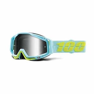 100% RACECRAFT Goggle Pinacles Baby Blue Yellow Mirror Silver Lens MTB MX