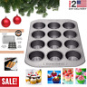 12-Cup Muffin Pan Nonstick Bakeware Gray Cupcake Christmas Kitchen Cook Bake
