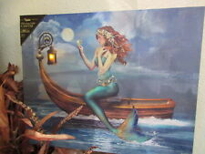 New Lovely Mythical Mermaid lighted hanging printed canvas picture Battery opera