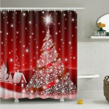 Christmas Tree Bathroom Shower Curtain Set Waterproof Polyester Fabric w/Hooks