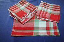 Service de table nappe 124 x 140 cm  + 20 serviettes en coton rouge vert basque
