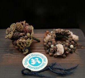 Miniatur antiker Bauernstrauss und Blumenkranz Draht Leonische Waren Bayern