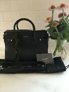NWT BLACK YSL Saint Laurent Baby Sac De Jour Gunmetal Zipper Calfskin Leather