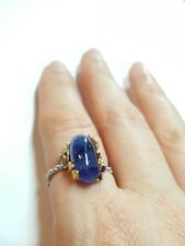 Blue Sapphire oval 3ct gemstone flower ring size 8.5 925 silver