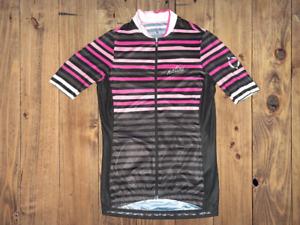 Nalini Cycling Jersey Men's Size XS Full-Zip Short Sleeve Bike Top Striped Pink