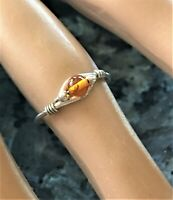 Amber Bead Ring Sz 3.5 Sterling Silver Wire Wrap Ladies Ring Dainty Handmade New