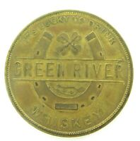.VINTAGE USA GREEN RIVER WHISKEY PROMOTIONAL METAL MEDALLION.