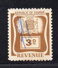 1964 Zambia Bft:2 3d Brown .Very Scarce Revenue..