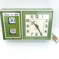 Vintage Westclox Time And Flip Date Electric Wall Clock Green Model S 37 Tested
