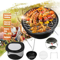 "10"" Round Charcoal BBQ Grill Portable Outdoor Camping Barbecue Tool"