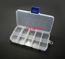 10 Detachable Compartment Rhinestones Box Case Crafts Nail Art Tips Storage
