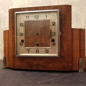 Art Deco Westminster Chiming Mantel Clock Case Square Glass Dial With Chime Bars