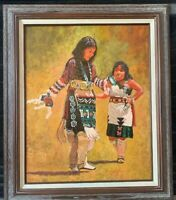 """Native American Woman & Young Woman Oil Painting 25"""" X 20"""" Framed & Coated"""