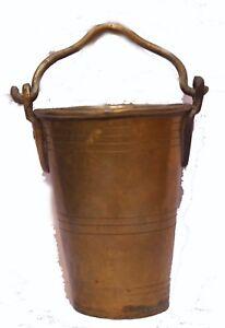 Indian Old Vintage Hand Carved Brass Water / Milk Balti / Bucket Br 492