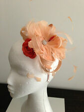 Spring Racing Carnival Peach/Coral Flower & Feathered Fascinator