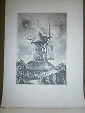 Gravure moulin a vent par P. Valade  Moulin de Saillé à Piriac sur mer Loire