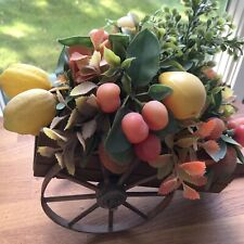 Vintage wooden wagon artificial fruit foliage leaves fall decor Charcon Japan