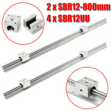 2X SBR12-800mm 12mm Fully Supported Linear Rails With 4X SBR12UU Block Bearing