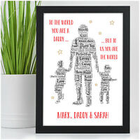 PERSONALISED Daddy Dad and Son Daughter Birthday Gifts - 1, 2 or 3 Children