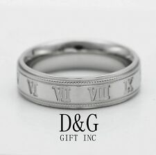 07468430b Stainless Steel,Roman-Numeral Band Ring Unisex 8,9 10
