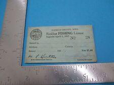 Vintage 1937 Iowa Resident Fishing License Lloyd Kephart S2625