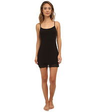"HANKY PANKY WOMEN'S SILKY SKIN 32"" LACE TRIM SLIP DRESS BLACK MEDIUM NEW! $90"