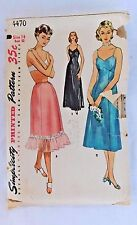 VINTAGE 1953 SIMPLICITY PATTERN 4470 FULL AND HALF SLIP BUST 14 COMPLETE