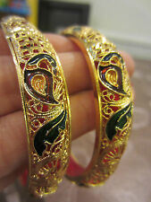 22ct GOLD PLATED MAROON/GREEN MEENA PEACOCK ASIAN/INDIAN BANGLE/BRACELET 2.6 x 2