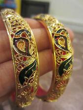 22ct GOLD PLATED BORDEAUX/VERDE Meena PAVONE asiatica/Indiano Braccialetto 2.6 x 2