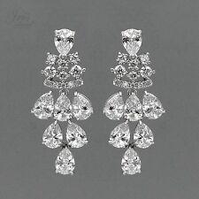 18K White Gold Plated Cubic Zirconia CZ Wedding Bridal Drop Dangle Earrings 2784