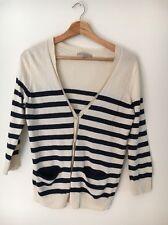 Gap Size S 10 Cream Navy Stripe Cardigan <T6235