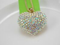 Fashion beautiful AB Crystal heart Pendant Necklace Sweater chain DD04