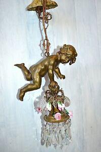 Antique French Flying Cherub Pendant Light Chandelier Porcelain Roses Crystals