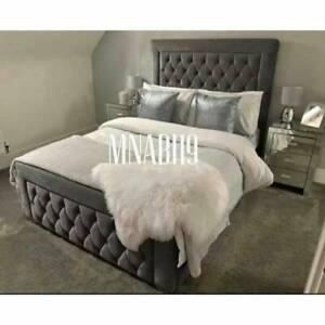 Arizona Steel Grey Plush Soft Velvet Bed Frame 3FT 4FT 4FT6 5FT 6FT New Sale