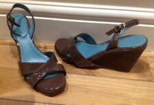 Boden Patent Leather Brown Wedge Sandal Size Uk5 (38)