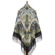 Large Pavlovo Posad Shawl Warm Scarf Dress Wrap Cape 100 Wool Hat 146x146cm