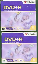 10 Verbatim DVD + R 2 Box of 5 = 10 Discs In Jewel Cases  1X-8 X 120 min. 4.7GB