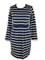 Joules Blue Cotton Stripe Nautical Smart Pocket Shift Jumper Dress Size 12 M