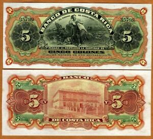 Costa Rica, 5 Colones, 1901 1908 P-S173r, Ch. UNC > 120 years old, Yellow Spots
