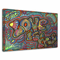 Psychedelic Trippy Peace Love Is Free Sixties Canvas Wall Art Picture Print
