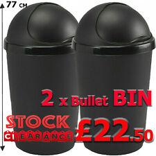 More details for plastic bullet bin 50l x 2 sliding lid waste rubbish paper bin kitchen office