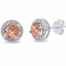 Morganite and Clear Halo Round Cut CZ .925 Sterling Silver Stud Earrings