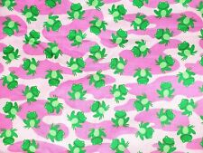 """""""Cameo Frogs"""" Green Frogs Cotton Fabric Pink Lily Pads 1 1/2 yd x 44""""W"""