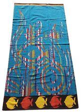 BEACH TOWEL FISH SWIRL BLACK BLUE YELLOW RED AQUA JUMBO LARGE BATH SHEET COTTON