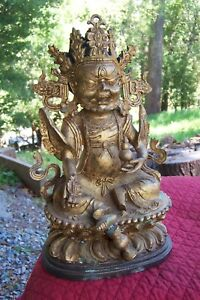 "Tibetan God-Heavy brass-10.5 inches high-6.5"" wide-5"" thick"