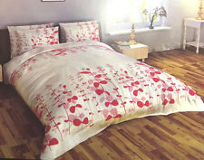 SUPER KING SIZE COMPLETE SET MULTI FLORAL PEACH PINK RED WHITE POLYESTER BEDDING